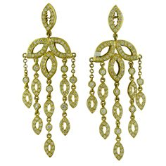 DORIS PANOS Gold 3.00ct Diamond Chandelier Earrings18K yellow gold Marked/Tested 750, @2004, DP Gemstones/Diamonds Diamonds- approx. 2.85 - 3.00ctw Clarity: VVS Color: G Measurements: Earrings 71mm long x 23mm wide (1 inch= 25mm) Weight 22.6g. USA Modern