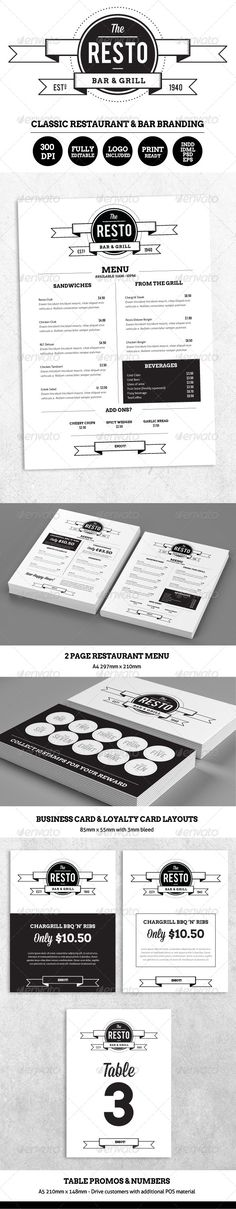 Resto-Bar Menu & Restaurant Branding - Food Menus Print Templates Download here : http://graphicriver.net/item/restobar-menu-restaurant-branding/5420067?s_rank=1312&ref=Al-fatih