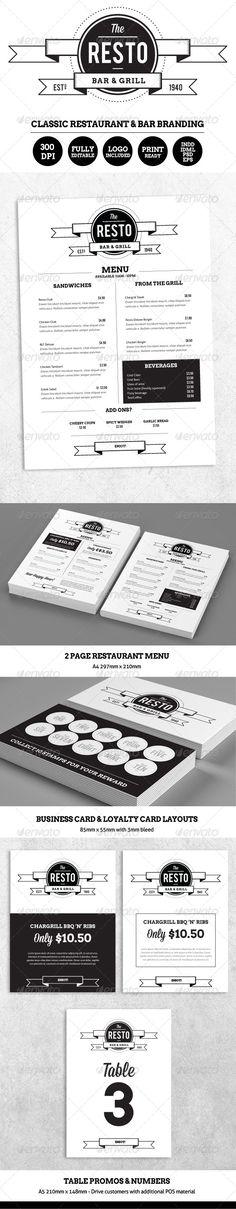 Resto-Bar Menu & Restaurant Branding #print #professional #restaurant • Available here → http://graphicriver.net/item/restobar-menu-restaurant-branding/5420067?s_rank=172&ref=pxcr