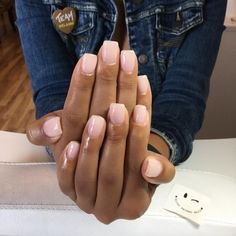 Loving this new Emily Anton gel color 'Love is in the Bare'. (I think this w… Loving this new Emily Anton gel color 'Love is in the Bare'. (I think this will be replacing my Creme de la Creme 😫) I also cut down her super… Opi Gel Nails, Nude Nails, White Gel Nails, Opi Gel Polish, Neutral Nail Polish, Gel Nail Tips, La Nails, Milky Nails, Dipped Nails