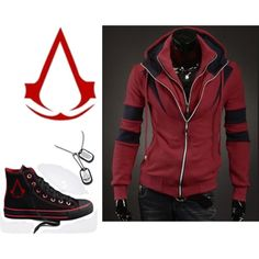 Assassin's Creed Hoodie by geekhoodies on Polyvore featuring Converse and Geek