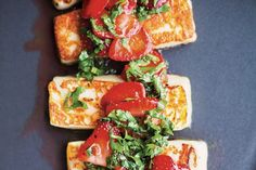 Grilled Halloumi With Strawberries And Herbs / Kimberley Hasselbrink