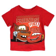 This quality Disney Cars top features your favorite Disney Cars characters like, Lightning McQueen and Tow Mater. Free shipping!