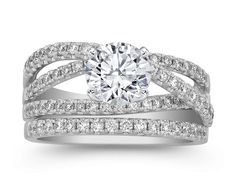 Crossover Pave Diamond Wedding Set Engagement Ring