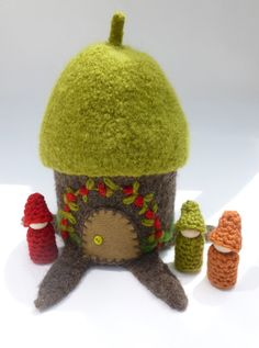Felted wool tree house wood peg dolls