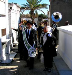 """Many funerals in New Orleans frequently involve the famous jazzy """"second line"""" New Orleans Cemeteries, Cajun French, New Orleans City, Exquisite Corpse, Cemetery Statues, Travel Pictures, Travel Photos, Funeral Arrangements, Crescent City"""