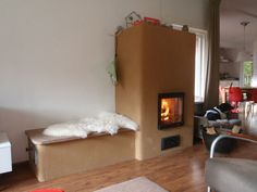 Leemoven met warmte die in stenen blijft, zitje is dus lekker warm!