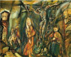 Oskar Kokoschka, Crucifixion (Golgotha), olieverf op doek, 68 x 55 cm, privécollectie. Max Beckmann, Andre Derain, Franz Marc, Max Ernst, Wassily Kandinsky, Henri Matisse, Crucifixion Painting, Jewish Shabbat, Sculptures