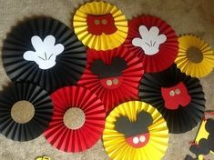 Mickey Mouse theme paper rosettes(fan) for photoshoot/backdrop/decoration ? Mickey Mouse Backdrop, Mickey Mouse Birthday Decorations, Mickey 1st Birthdays, Fiesta Mickey Mouse, Theme Mickey, Mickey Mouse Baby Shower, Mickey Mouse Clubhouse Birthday Party, Mickey Mouse Parties, Mickey Birthday