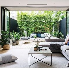 gorgeous 40 Fabulous Indoor Outdoor Living Spaces Design Ideas That You Need To Try Living Room Designs, Living Room Decor, Living Spaces, Casa Loft, Estilo Interior, Interior And Exterior, Interior Design, Indoor Outdoor Living, Outdoor Rugs
