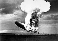 The German zeppelin 'Hindenburg' exploding at Lakehurst, New Jersey, 6 May 1937.