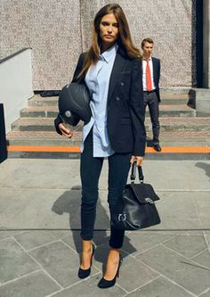 Perfect style- pants, shirt & blazer, completed with good heels&bag