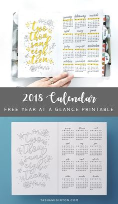 Free printable 2018 calendar. Year at a glance. Print and trace into your bullet journal, cut in half and use in your planner, use it as a coloring page! Easy!