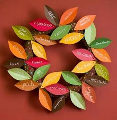 "Thanksgiving gratitude. Wrap 12"" styrofoam wreath w/fabric secured w/ball-head pins. Cut card stock leaves, creasing each to add dimension. Hang w/loop of string."