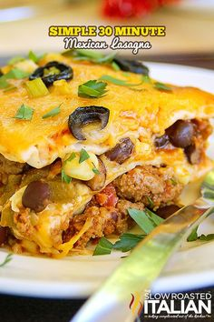 Mexican Lasagna is made with layer upon layer of spectacular south-of-the-border flavors. A drool worthy dish with just enough heat to wake up your taste buds, you will surely beat the picky palates in your house with this fabulous casserole that takes 1 Mexican Lasagna Recipes, Beef Recipes, Dinner Recipes, Cooking Recipes, Tex Mex Lasagna Recipe, Mexican Lasagna Chicken, Mexican Lasagna With Tortillas, Aloo Recipes, Gourmet