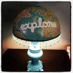 Homemade Globe Lamp.  #Create2Educate #Sweepstakes. Enter your own project for a chance to win a $50 gift card to Michaels. Learn more:  https://www.facebook.com/Michaels?sk=app_584051421645085