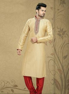 Atractive Cream art silk mens kurta pajama for Eid  C15218