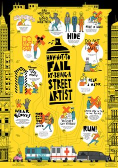 infographic poster – 'How not to fail at being a street artist'student project in Editorial & Typography Studio STO9, Academy of Fine Arts in Łódź, 2015