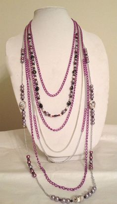 Extra Long Purple and Silver Chain Necklace with Purple and Mauve Glass Pearls, Mauve Painted Pearls, Swarovski Crystals, and White Cats Eye