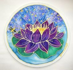 "Hand Painted Silk Flower Mandala ""The Lotus of Universal Wisdom' : HeavenOnEarthSilks(Mary Ann Holley)  in Arizona, United States"