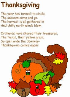 Thanksgiving Poem and coloring page template