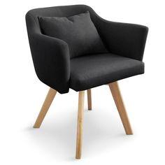Lot de 2 fauteuils scandinaves Dantes Tissu Noir