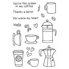 """JANE'S DOODLES: Coffee Time (4"""" x 6"""" Clear Photopolymer Stamp Set) This package contains Coffee Time: four sentiment and thirteen image coffee themed stamps."""