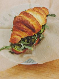 the greens sandwich on our housemade croissant