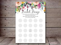 editable bridal shower games SN34b 5″x7″ Floral Chic – Printabell #printabell #bridalshower bridal bingo