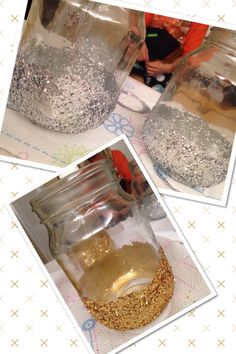 DIY glitter mason jars I just used gold & silver acrylic paint to paint the jars and then rolled the jars in glitter while the paint was still wet! Can't wait to fill them with goodies for our New Years Eve Gatsby party!! :)
