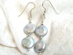 13mm Gray Coin Pearl Earrings, Freshwater Pearl Earrings, Solid Sterling Silver 935 Argentium Anti Tarnish wire by JewelrybyPatterson on Etsy