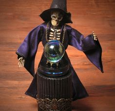 OOAK Miniature Skeleton Magician with Illuminated Crystal Ball by DinkyWorld on Etsy