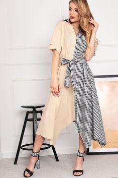 Sukienka Mellody z łączonych materiałów -beż Retro Fashion, High Low, Wrap Dress, Outfit, Dresses, Style, Instagram, Vestidos, Swag