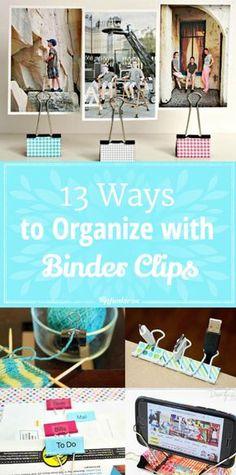 Home Office Organization Diy Binder Clips 60 Trendy Ideas Binder Clip Hacks, Office Organization Tips, Organizing Tips, Organizing Paperwork, Small Binder, Cute Office Supplies, Budget, Diy Crafts, Creative