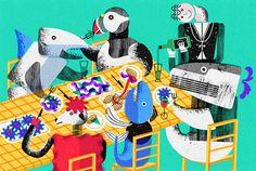 Love Assa Ariyoshi's bold shapely illustration style for Mood Magazine, see all Assa's work here; http://www.assaariyoshi.com/