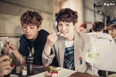 """[BTS in Sweden: Mischievous boys in Europe] - V & SUGA Date: July 30th 2014 Location: Gamla Stan, Stockholm """"V and SUGA turned into mischievous boys. They ate a lot of sweet dessert under the cloak of photo shootings, but it's clear that their happy smiles are not acting."""""""
