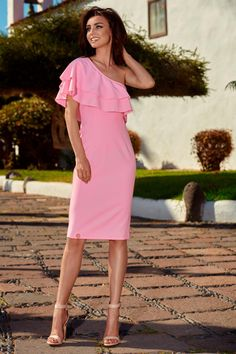 Urocza Sukienka na Jedno Ramie Różowa LEL254
