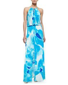 T83KK Parker Madera Watercolor Print Halter Maxi Dress, Poolside Blue