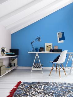 Bold on trend shades designed to complement Crown Paints Standard Emulsion. Shown here in Peek-a-boo Blue by Crown Paints.
