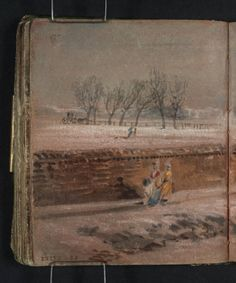 J. M. W. Turner: View from a Street over a Long Wall into a Park, with Distant Buildings: Snow (Perhaps between Lewisham and Catford), 1796-97.