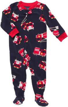 Carter's Boys Navy Firetruck Fleece Blanket Sleeper « Clothing Impulse