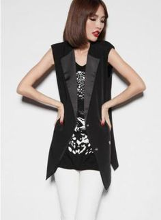 Black Shoulder Pads Suit Vest