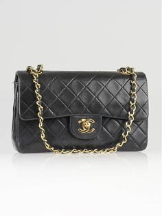 2631f0b790a7 Authentic Chanel Vintage Black Quilted Lambskin Leather Classic Small  Double Flap Bag at Yoogi s Closet. Condition is Gently used