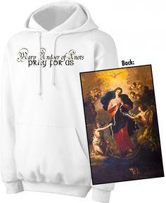 New Black /& White Virgin Mary Black Red Raglan Hoodie Sweater Catholic Prayer