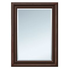 Style Selections 29-in x 35-in Espresso Rectangle Framed Wall Mirror