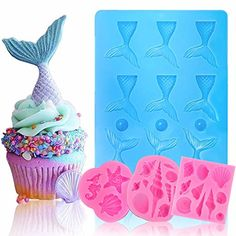 BAKHUK 3 Pack Seashell Mold Mermaid Tail Mold Silicone Fondant Mold Chocolate Mold for Decorating Cakes, Chocolate, Candy, etc. Silicone Chocolate Molds, Chocolate Candy Molds, Silicone Molds, Soap Melt And Pour, Soap Tutorial, Whipped Soap, Mermaid Coloring, Fondant Molds, Homemade Crafts