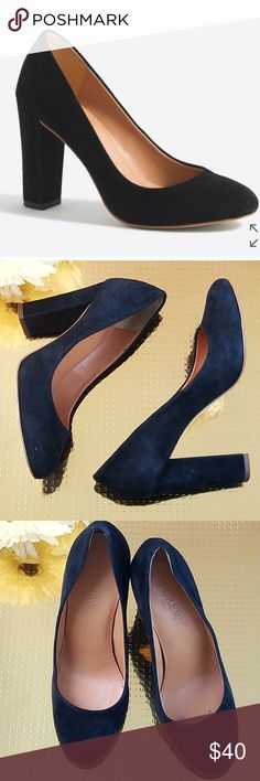 J. CREW Chunky Heel Suede Pumps Black sz 5 Available pre-loved in size 5, these J.Crew chunky suede pumps would be a great addition to your closet. 3 3/4 inch heel, round toe, suede upper. Minor scuffs. BLACK. J. Crew Factory Shoes Heels