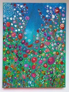 Original Abstract Flowers Painting Acrylic by HeatherMontgomeryArt, $45.00