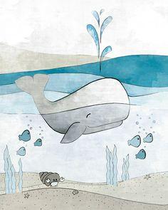 Whale Nursery Decor - Nautical Art Print, Childrens Room Art, Blue Childrens Room and Baby Fish Nautical Drawing, Whale Drawing Kids Room