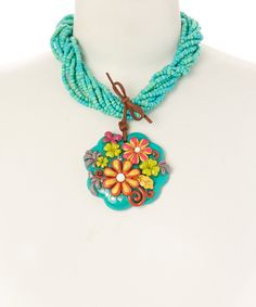 Look what I found on #zulily! Turquoise Clay & Leather Flower Pendant Necklace by Oori Trading #zulilyfinds